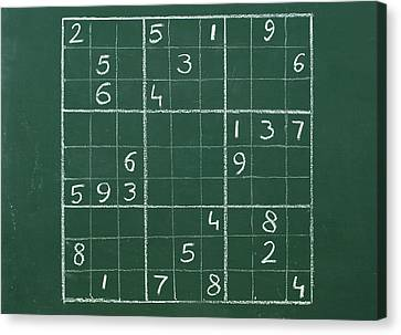 Sudoku On A Chalkboard Canvas Print