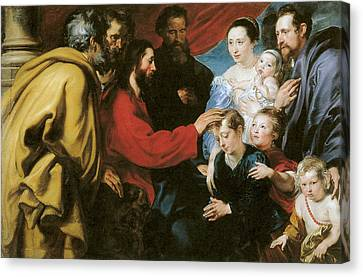 Suffer The Little Children To Come Unto Me Canvas Print by Anthony Van Dyke