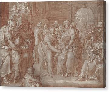 Suffer The Little Children To Come Unto Me Canvas Print by Joachim Wtewael or Utewael