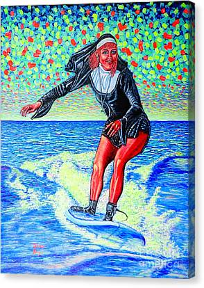 Surfing Nun /god-is Love ...love-is Life/ Canvas Print by Viktor Lazarev