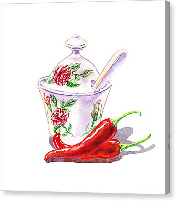 Sugar Bowl And Chili Peppers Canvas Print