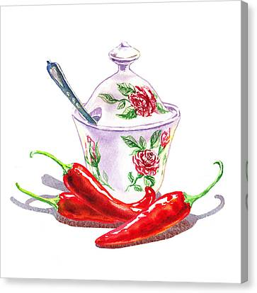 Sugar Bowl With Chili Peppers Canvas Print