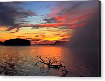 Sugar Creek Sunrise As The Fog Rolls In Canvas Print by Reid Callaway