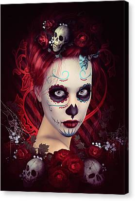 Character Portraits Canvas Print - Sugar Doll Red by Shanina Conway