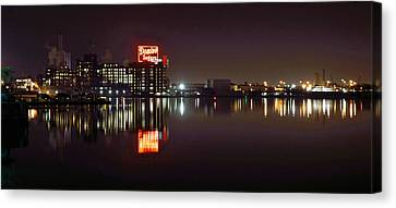 Sugar Glow - Classic Iconic Domino Sugars Neon Sign, Inner Harbor Baltimore, Maryland Canvas Print