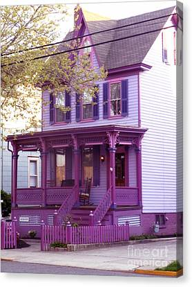 Sugar Plum Purple Victorian Home Canvas Print by Kristie Hubler