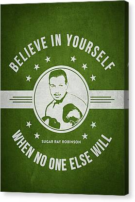 Sugar Ray Robinson - Green Canvas Print by Aged Pixel