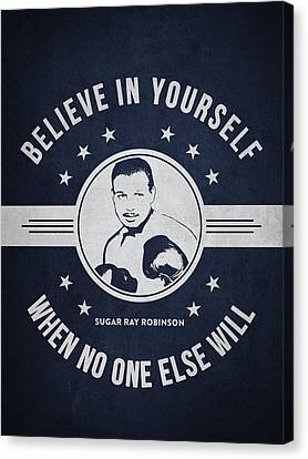 Sugar Ray Robinson - Navy Blue Canvas Print by Aged Pixel