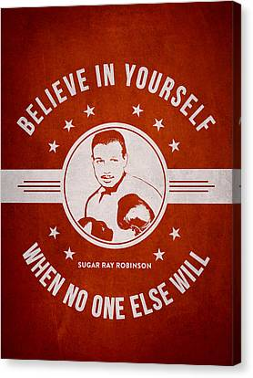 Sugar Ray Robinson - Red Canvas Print by Aged Pixel