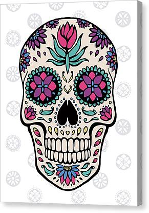 Sugar Skull Iv On Gray Canvas Print by Janelle Penner