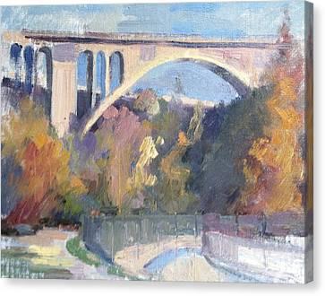 Suicide Bridge Winter Canvas Print by Karla Bartholomew