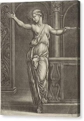 Suicide Of Lucretia, Jan Van Somer, Rafal Canvas Print by Jan Van Somer And Rafa?l And Marcantonio Raimondi