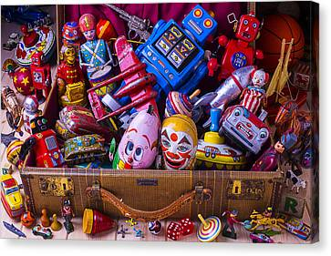 Suitcase Full Of Old Toys Canvas Print by Garry Gay