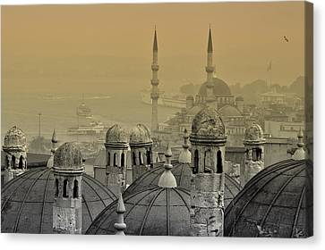 Byzantine Canvas Print - Suleymaniye Mosque And New Mosque In Istanbul by Ayhan Altun