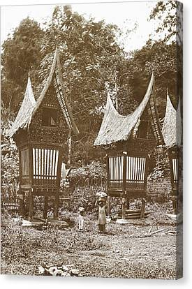 Sumatra Indonesia, Padang Bovenlanden With Padi Sheds Canvas Print