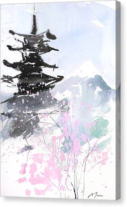 sumie No.10 Pagoda and Mt.Fuji Canvas Print