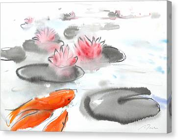 Sumie No.11 Koi Fish And Lotus Flowers Canvas Print