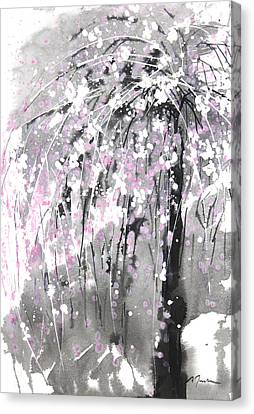 Sumie No.19 Weeping Cherry Blossoms Canvas Print