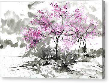 Millbury Canvas Print - Sumie No.2 Plum Blossoms by Sumiyo Toribe