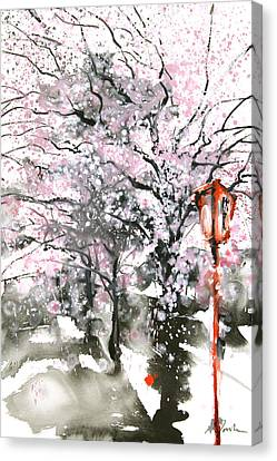 Sumie No.3 Cherry Blossoms Canvas Print