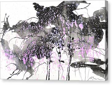 Sumie No.6 Weeping Willow Cheery Blossoms Canvas Print