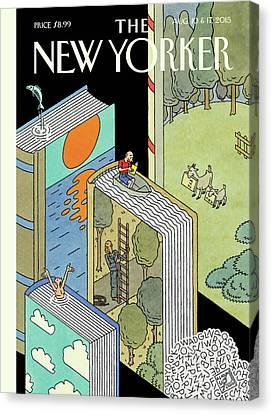 Reading Canvas Print - Summer Adventures by Joost Swarte
