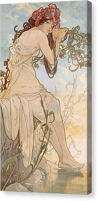 Summer Canvas Print by Alphonse Marie Mucha