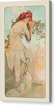 Summer Canvas Print by Alphonse Mucha