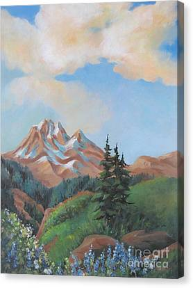 Canvas Print featuring the painting Summer At Kananaskis 2 by Marta Styk
