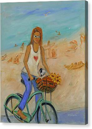 Summer Bicycling By A Nude Beach Canvas Print by Xueling Zou