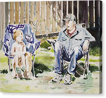 Grandfather  And Grandson Summer Bonding Canvas Print