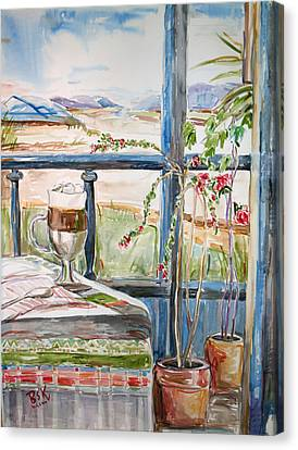 Canvas Print featuring the painting Summer Break by Becky Kim