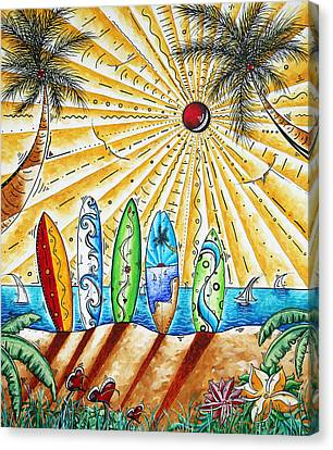 Tropical Sunset Canvas Print - Summer Break By Madart by Megan Duncanson