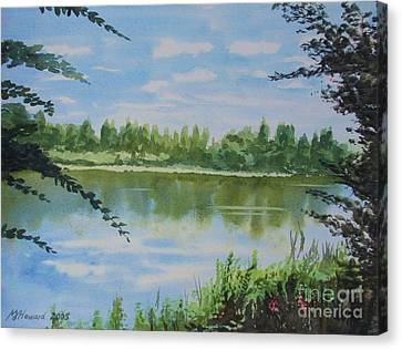 Canvas Print featuring the painting Summer By The River by Martin Howard