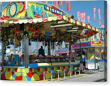 Summer Carnival Festival Fun Fair Shooting Gallery - Carnival State Fair Stands Canvas Print by Kathy Fornal