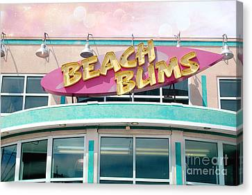 Summer Cottage Beach Bums Myrtle Beach Art Deco Sign Canvas Print by Kathy Fornal