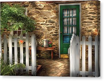 Summer - Cottage - Cottage Side Door Canvas Print by Mike Savad
