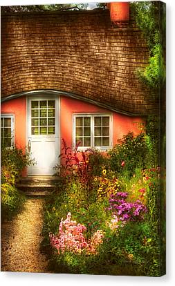 Summer - Cottage - Little Pink Play House Canvas Print by Mike Savad