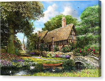 Summer Country Cottage Canvas Print by Dominic Davison