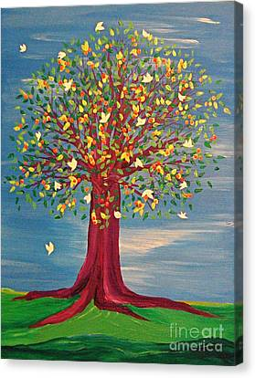 Canvas Print featuring the painting Summer Fantasy Tree by First Star Art