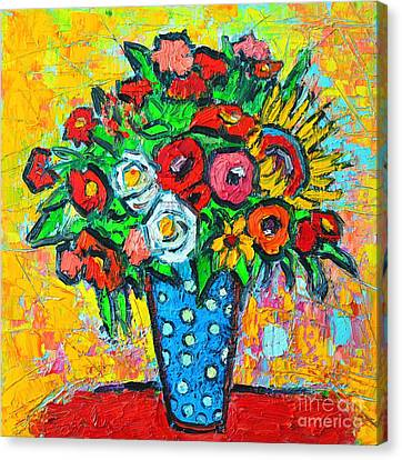 Summer Floral Bouquet - Sunflowers Poppies And Roses Canvas Print by Ana Maria Edulescu