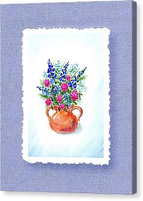 Summer Flowers Bouquet Botanical Impressionism Canvas Print by Irina Sztukowski