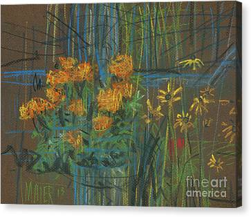 Canvas Print featuring the painting Summer Flowers by Donald Maier
