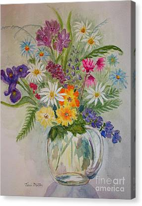 Summer Flowers In Vase Canvas Print by Terri Maddin-Miller
