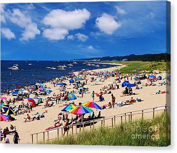Summer Fun At Oval Beach Canvas Print by Kathi Mirto