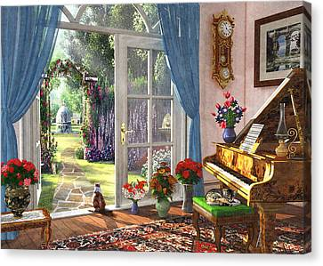 Canvas Print featuring the painting Summer Garden View by Dominic Davison