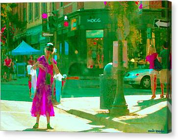 Summer Heatwave Too Hot To Walk Lady Hailing Taxi Cab At Hogg Hardware Rue Sherbrooke Carole Spandau Canvas Print by Carole Spandau