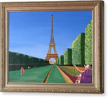 Canvas Print featuring the painting Summer In Paris by Ron Davidson