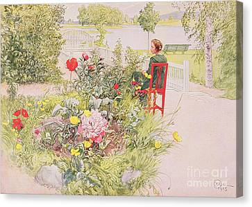Summer In Sundborn Canvas Print by Carl Larsson