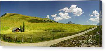 Mountain Cabin Canvas Print - Summer In The Mountains Panorama by Sabine Jacobs